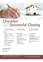 Checklist of Items Needed for a Successful Closing
