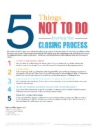 Five Things Not To Do During the Closing Process